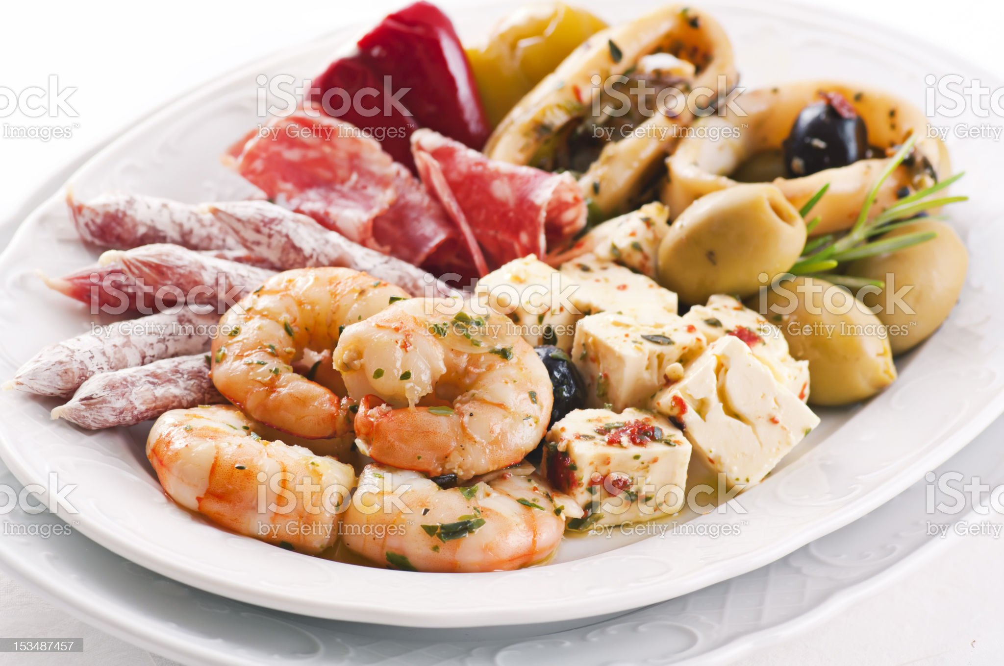 Tapas with Seafood and Sausages royalty-free stock photo
