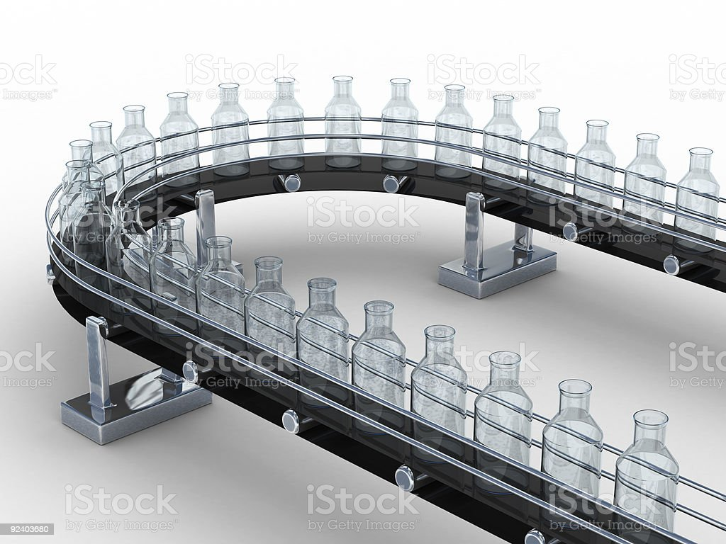 tape conveyor with bottles on white background. Isolated 3D image stock photo