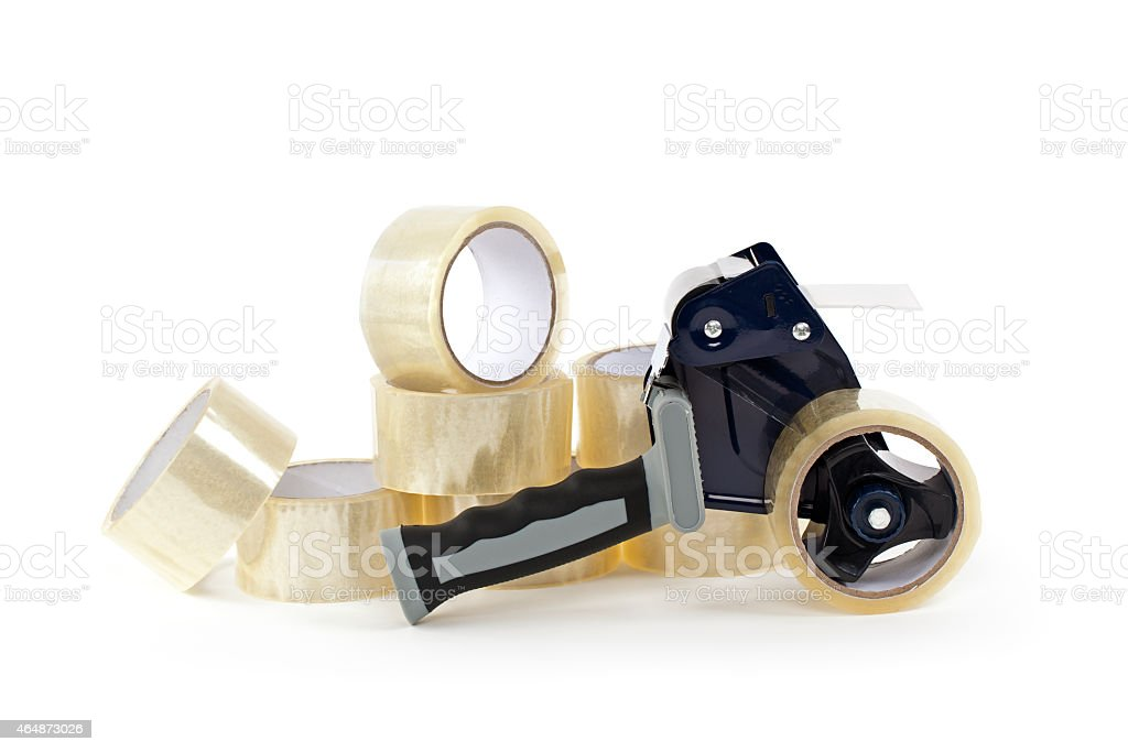 Tape Gun and Rolls of Tape stock photo