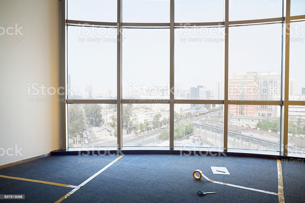 Tape lines on office floor for furniture stock photo