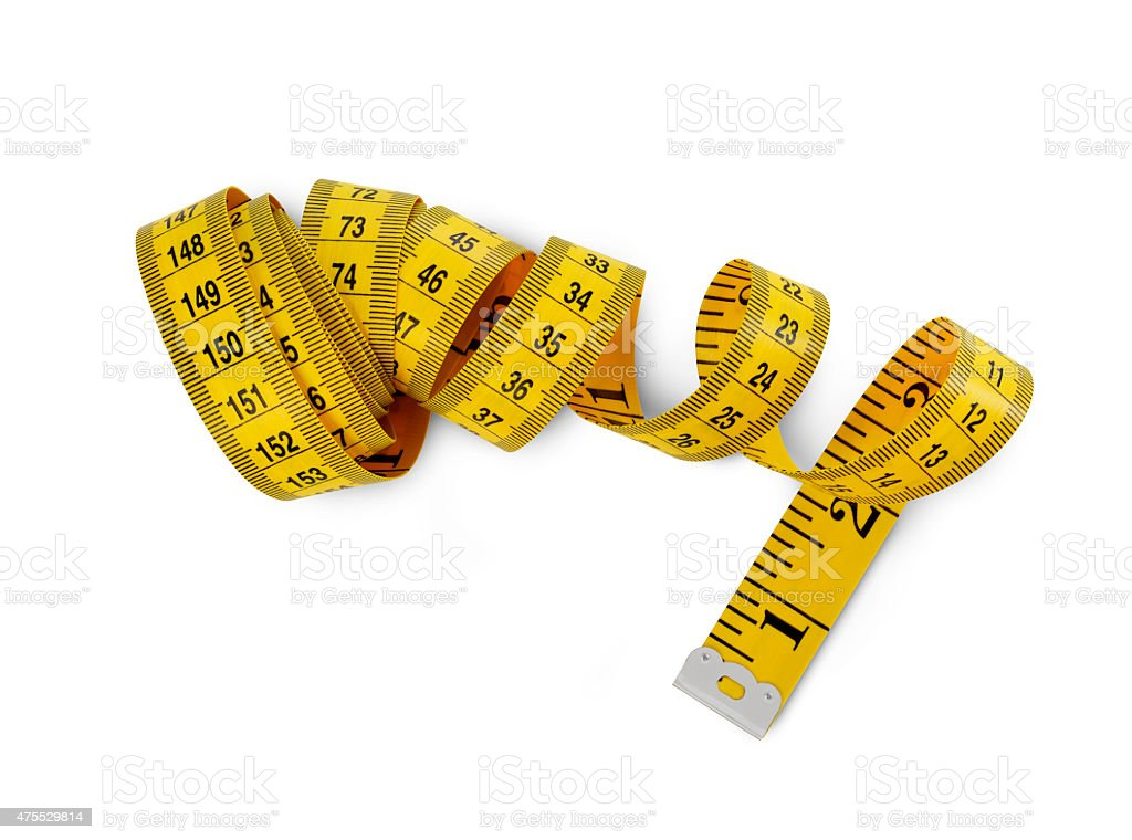 Tape measure aerial view stock photo