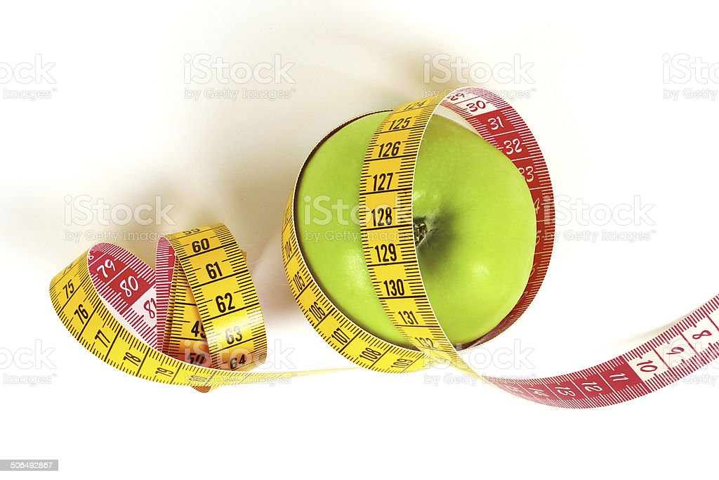 Tape Measure and Apple royalty-free stock photo