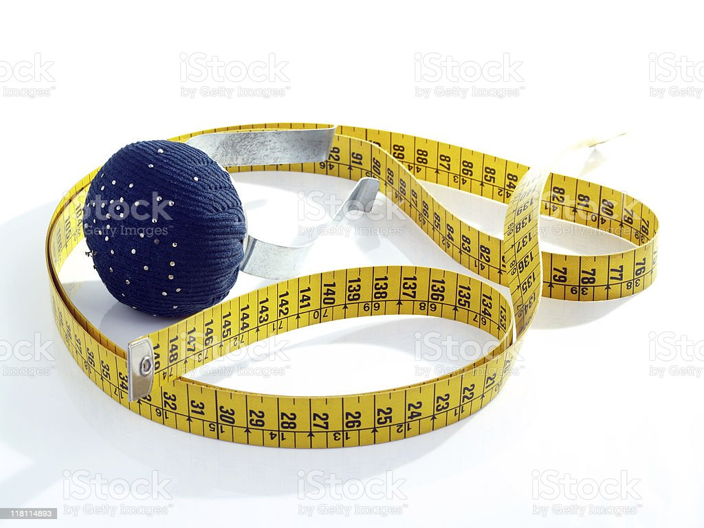 Tape measure and pin cushion for arm royalty-free stock photo