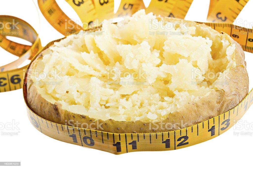 Tape Measure Around Plain Baked Potato Isolated royalty-free stock photo