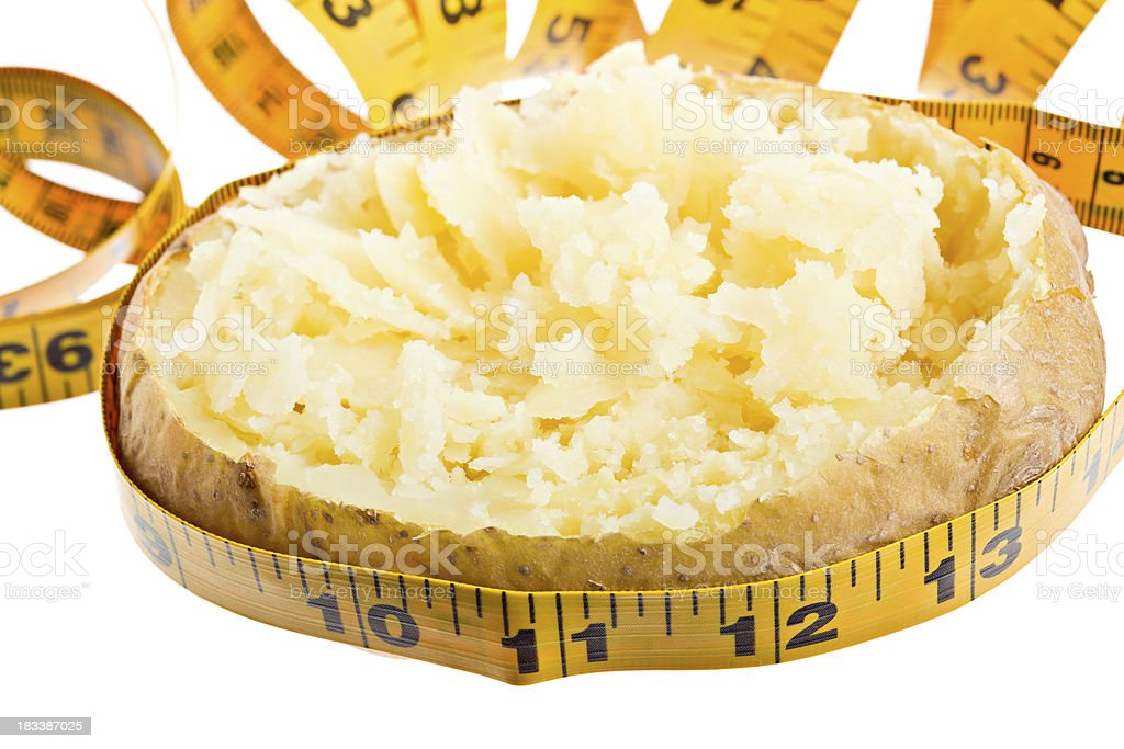 Tape Measure Around Plain Baked Potato Isolated stock photo