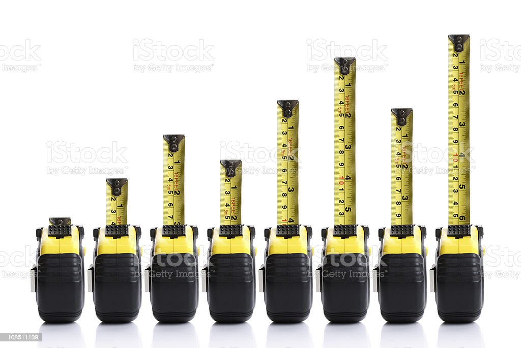 Tape measure bar chart stock photo
