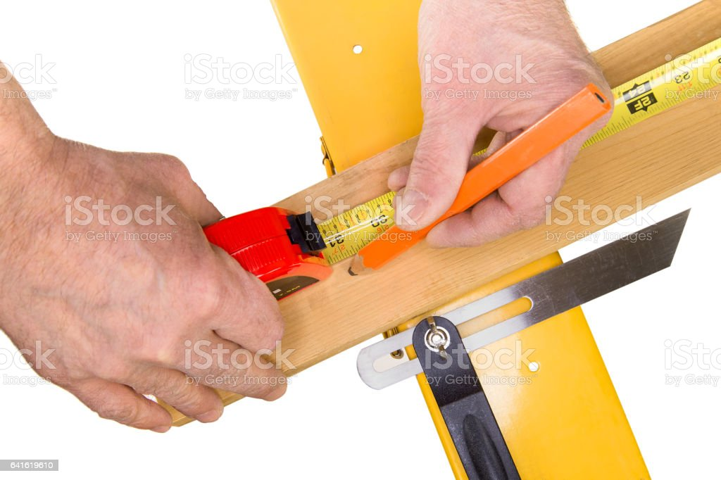 Tape Measure Cut Mark from Over Head stock photo
