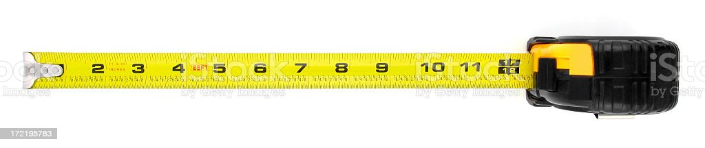 Tape Measure Extended to One Foot or Twelve Inches royalty-free stock photo