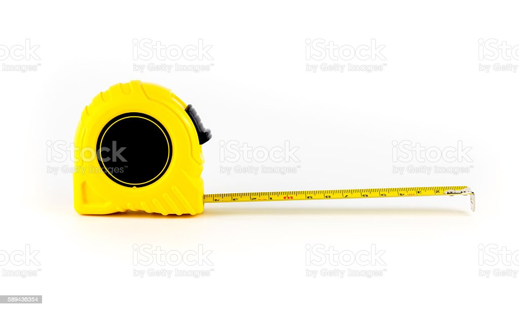 tape measure isolated white background steel tape stock photo
