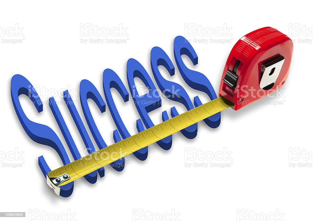 A tape measure measuring the word success stock photo