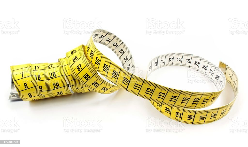 Tape measure on white background stock photo