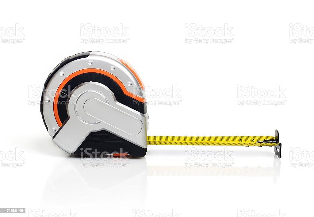 Tape measure on white background stock photo