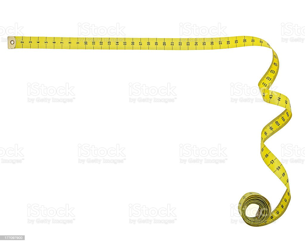 Tape measure right angle corner shape, isolated stock photo