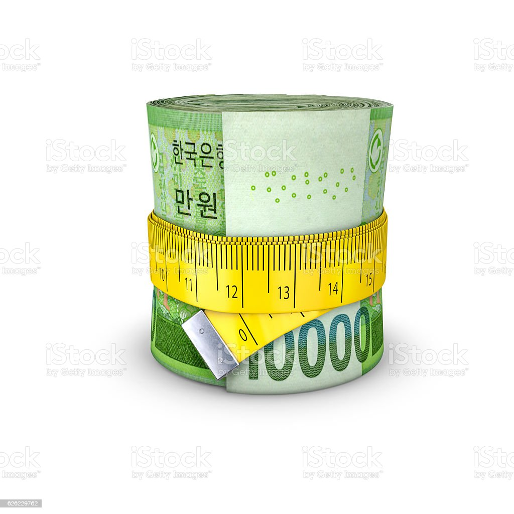 Tape measure South Korean won stock photo