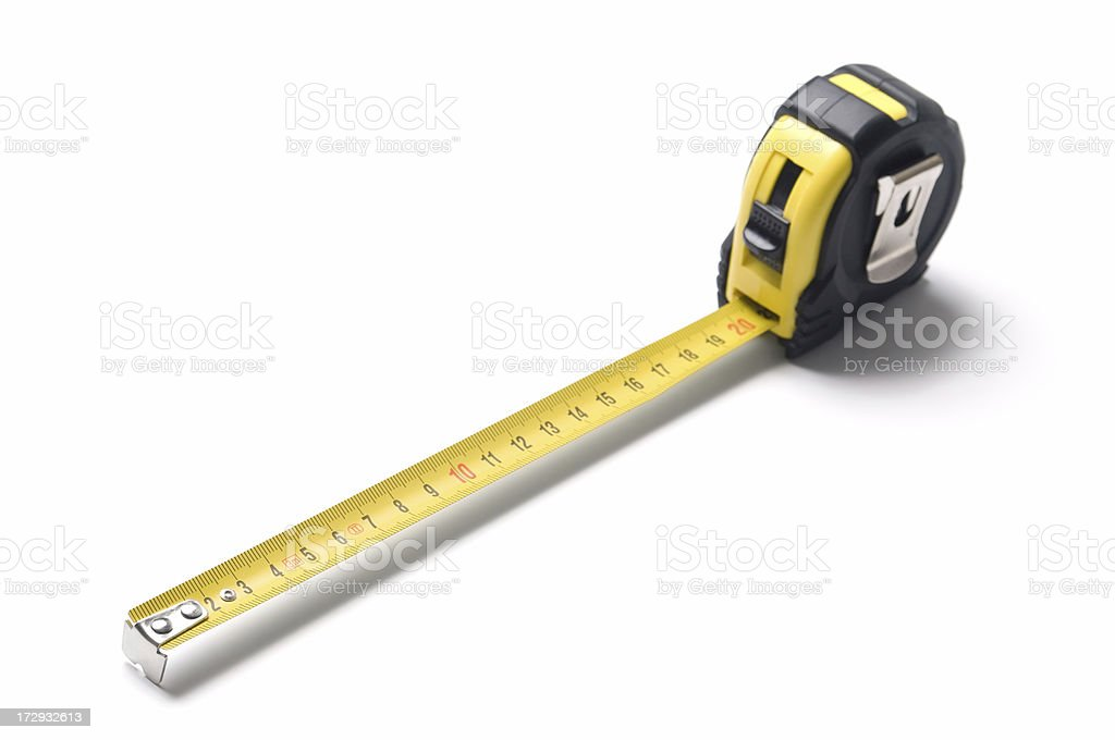A tape measures against a white background royalty-free stock photo