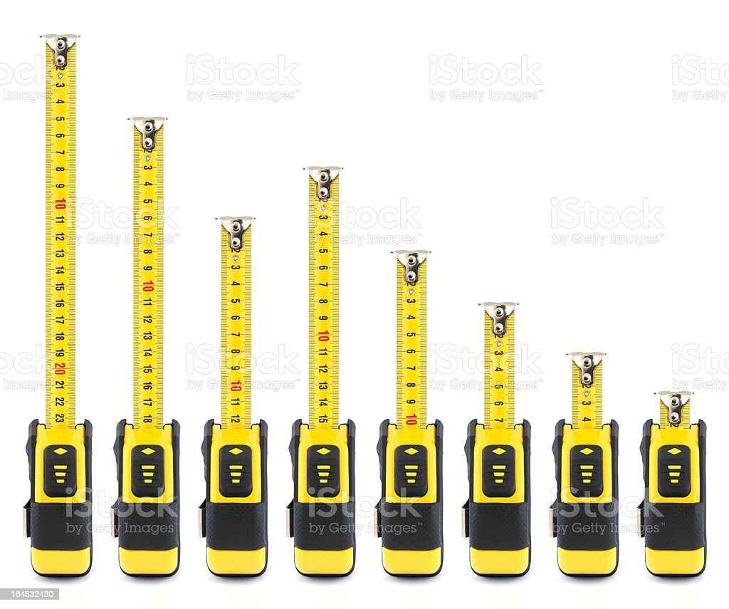 Tape Measures - Declining Graph stock photo
