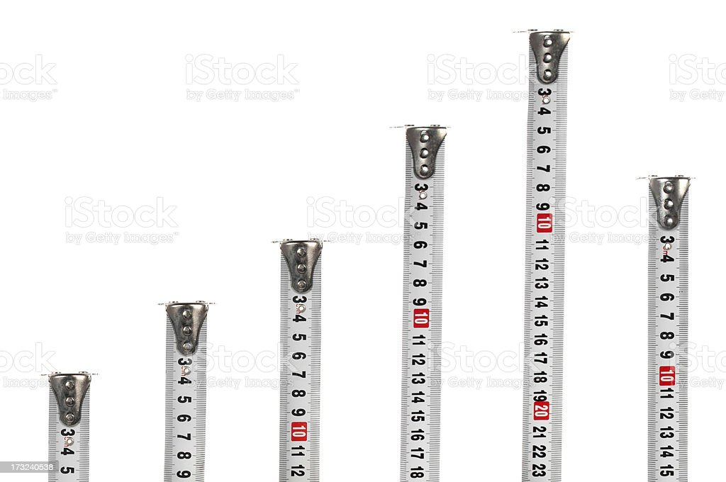 Tape measures like a graph stock photo