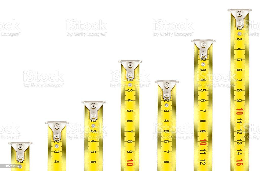 Tape Measures - Rising Graph stock photo
