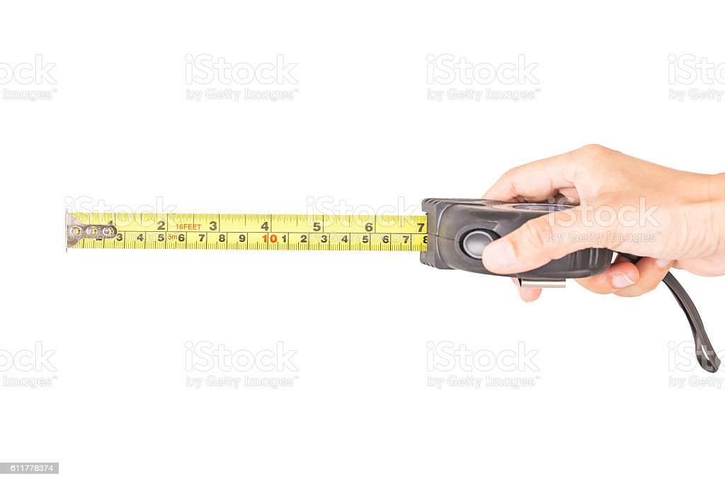 Tape measuring on hand. stock photo