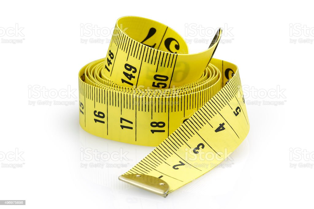 Tape Measuring with Clipping Path stock photo