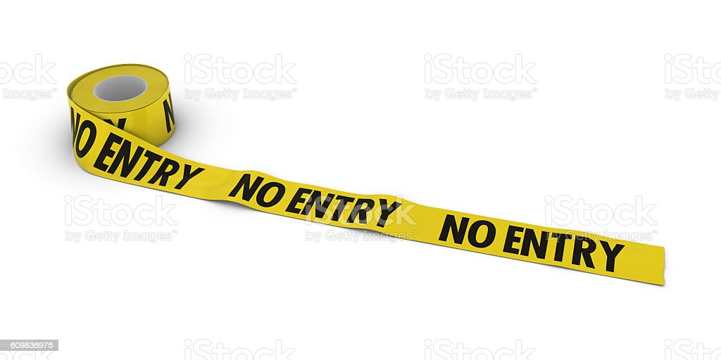 NO ENTRY Tape Roll unrolled across white floor stock photo