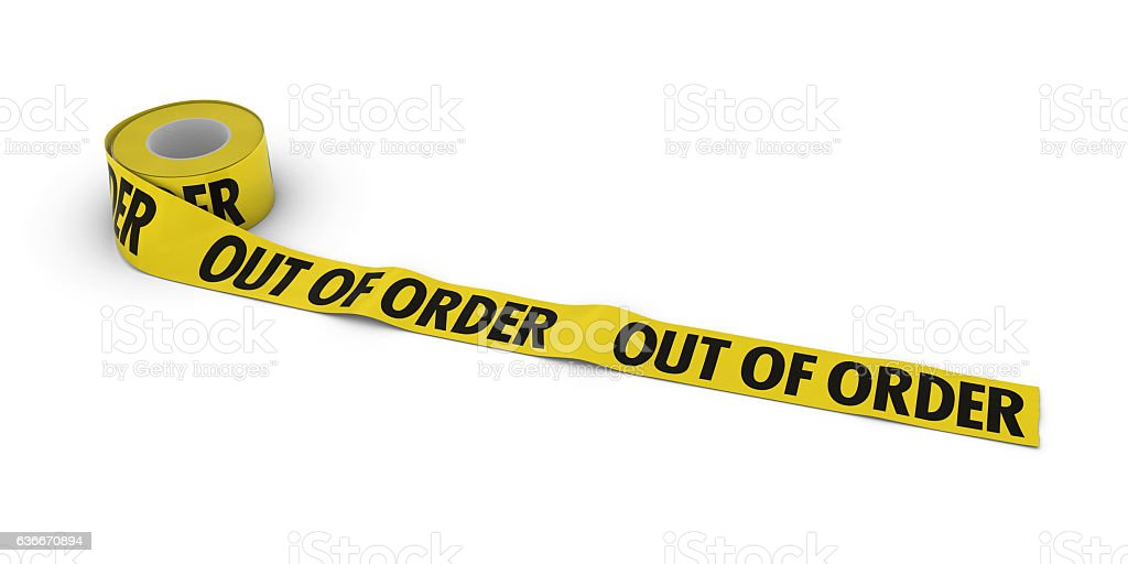 OUT OF ORDER Tape Roll unrolled across white floor stock photo