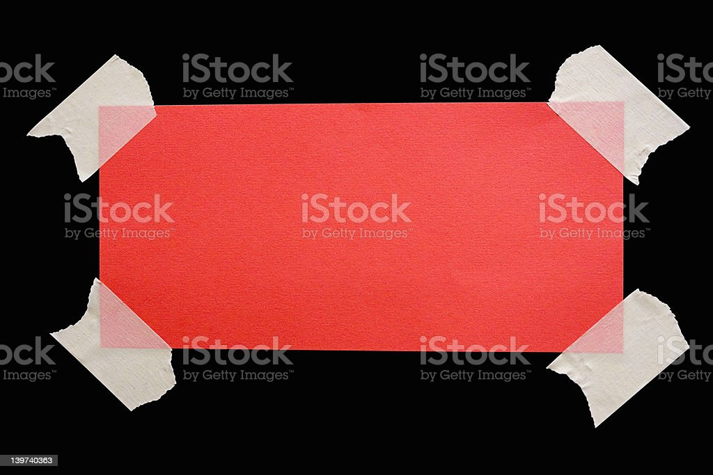 Taped Down Red Note w/ Path stock photo