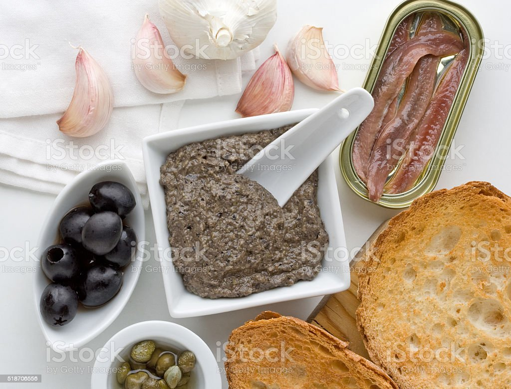 Tapenade, traditional Provence sauce stock photo