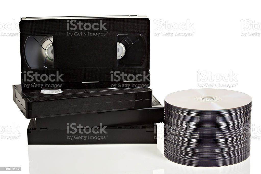 VHS tapes and DVD disks royalty-free stock photo