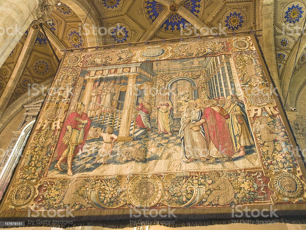 Tapestry in cathedral Como stock photo