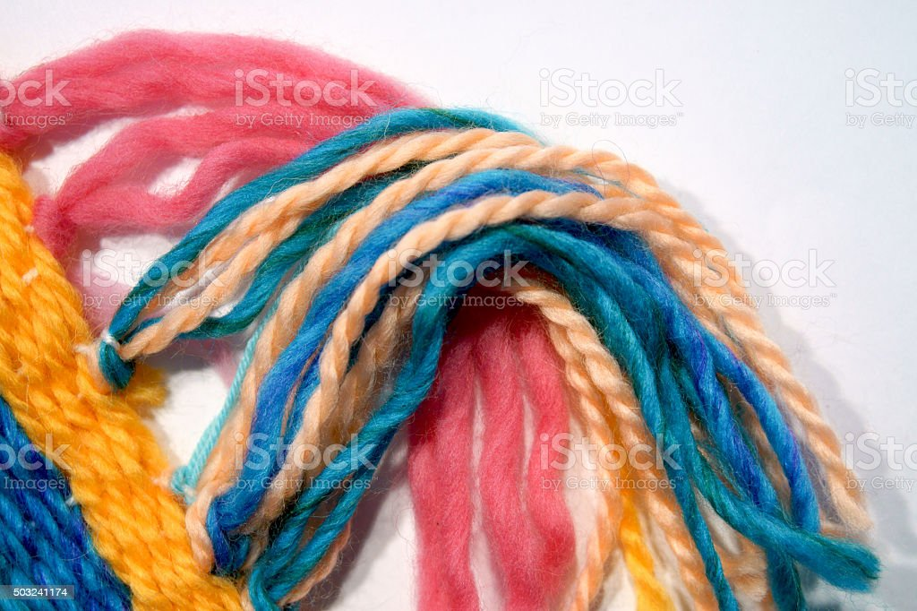 Tapestry wool, fringes stock photo