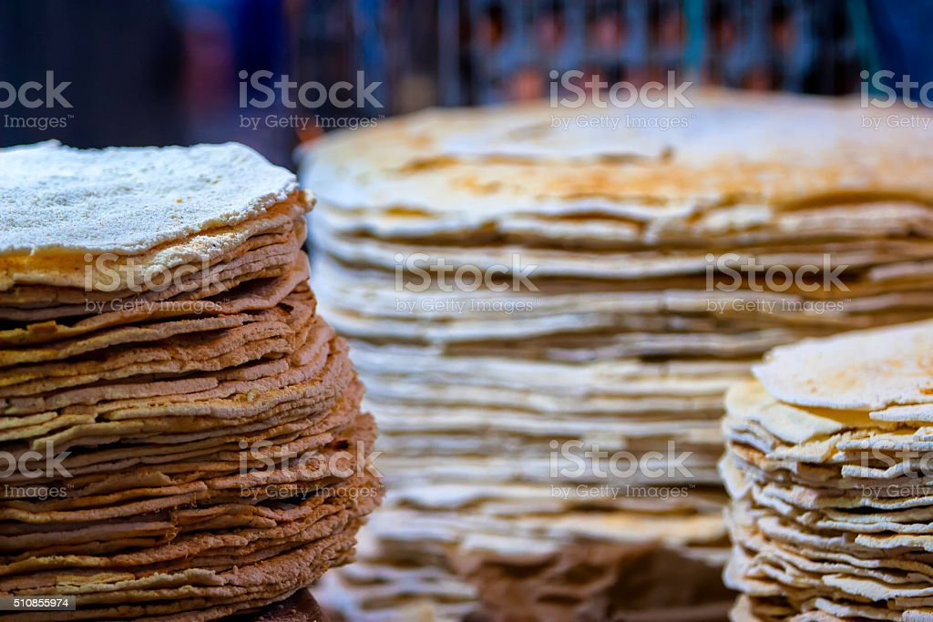 Tapioca / Flatbread of cassava stack stock photo