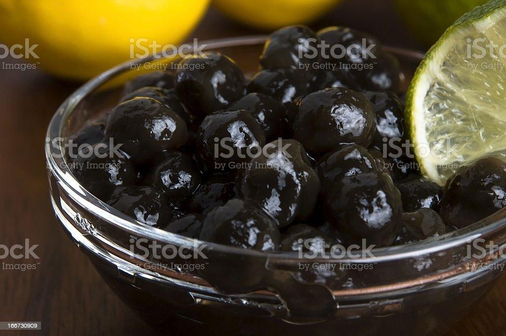 tapioca pearls with lime. white bubble tea ingredients stock photo
