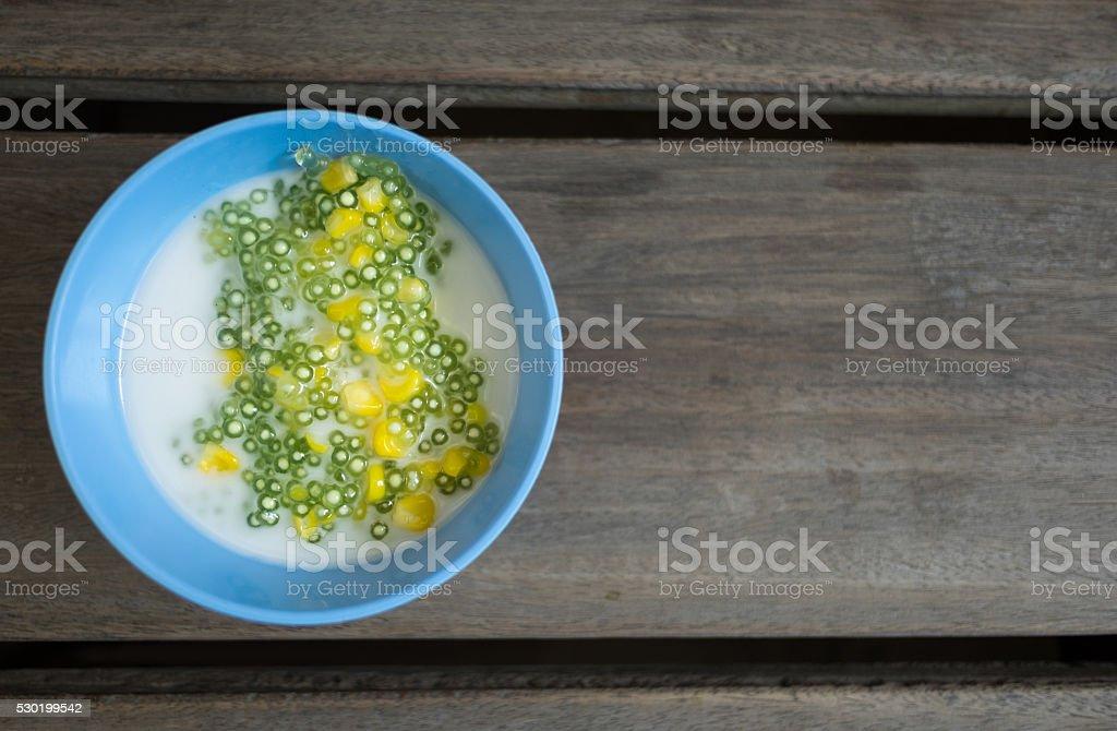 Tapioca pudding or Sakoo (Thai dessert) stock photo