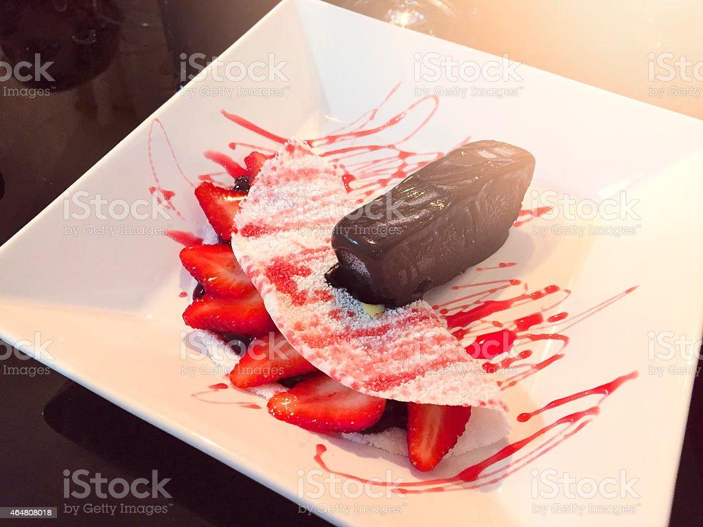Tapioca with strawberry cream and chocolate ice cream. stock photo