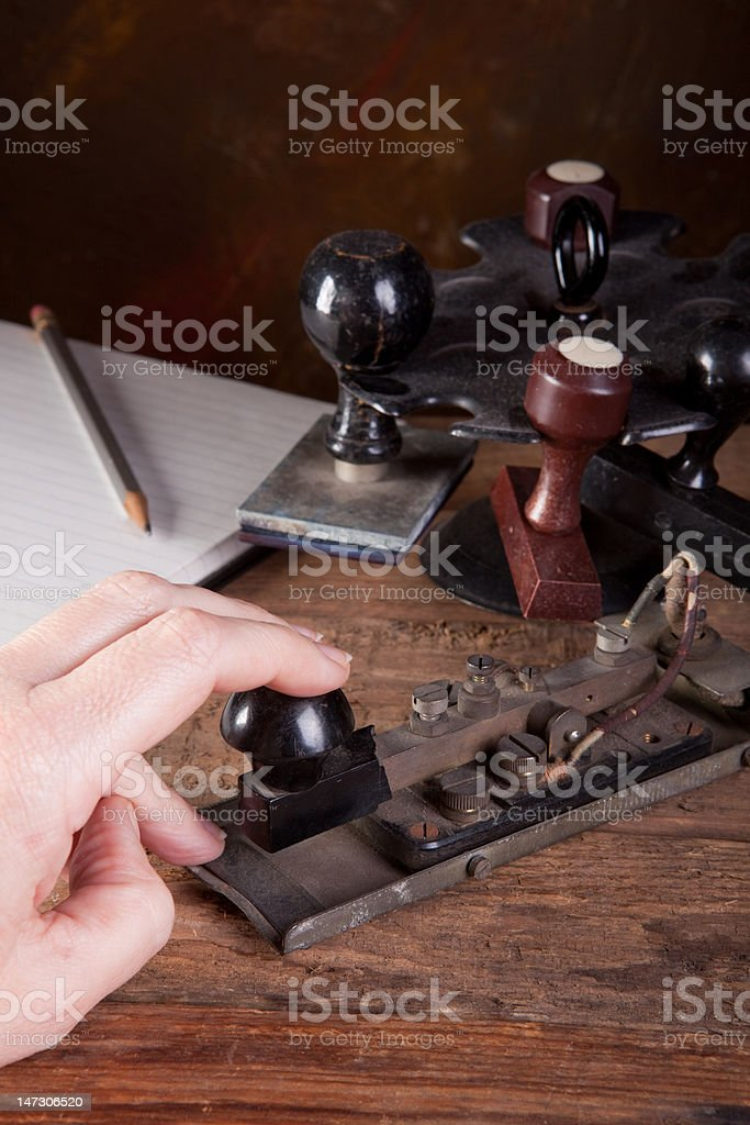 Tapping morse code stock photo