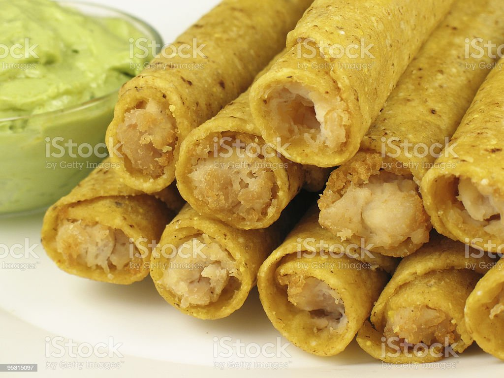 Taquitos and Guacamole 2 stock photo