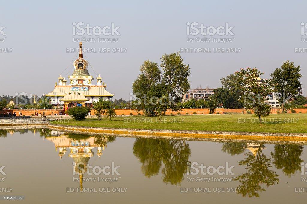 Tara Foundation Buddhist temple in Lumbini, Nepal stock photo