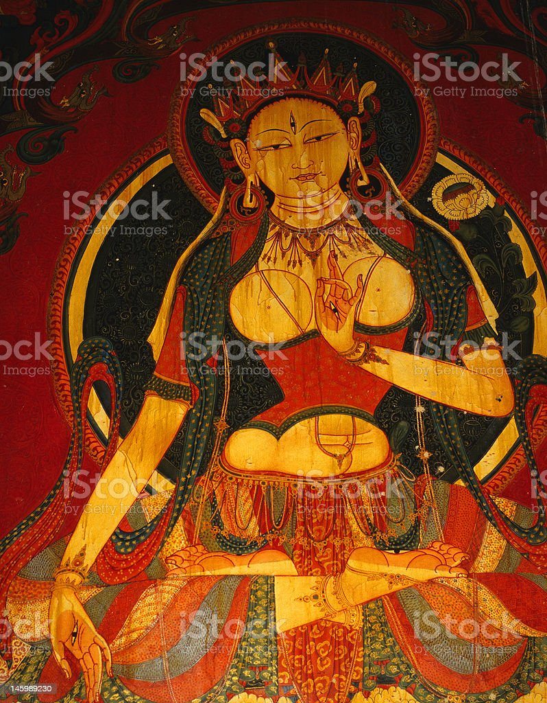Tara fresco from west Tibet stock photo
