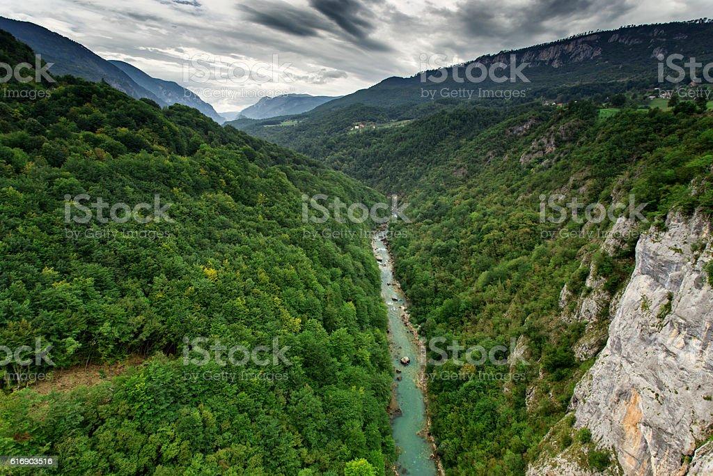Tara river canyon at summertime, nature landscape. Montenegro stock photo