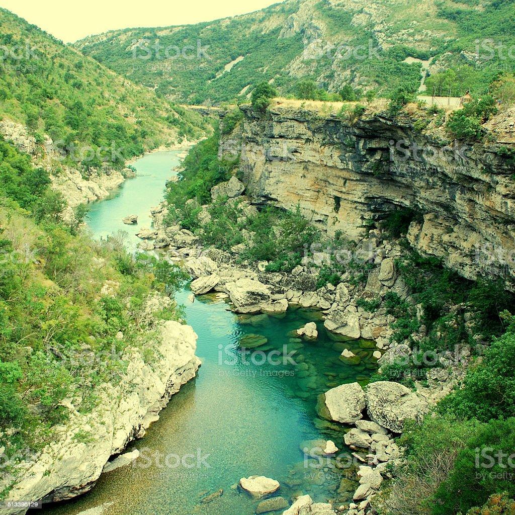 Tara river canyon in Montenegro mountains stock photo