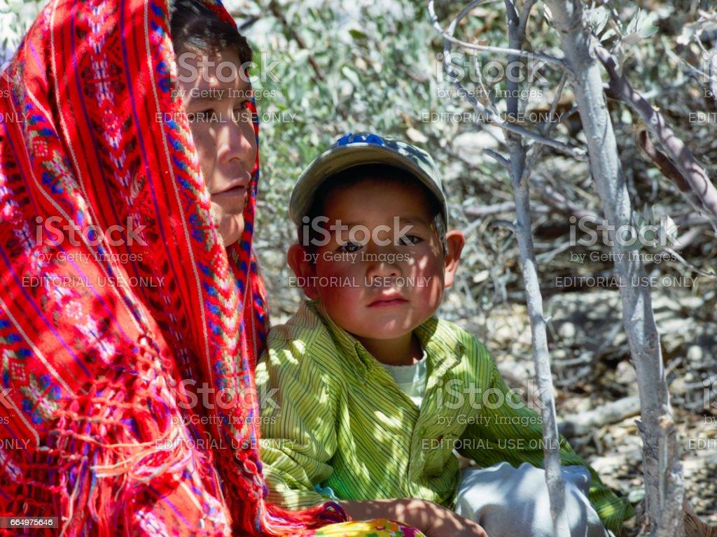 Tarahumara native woman with her child stock photo