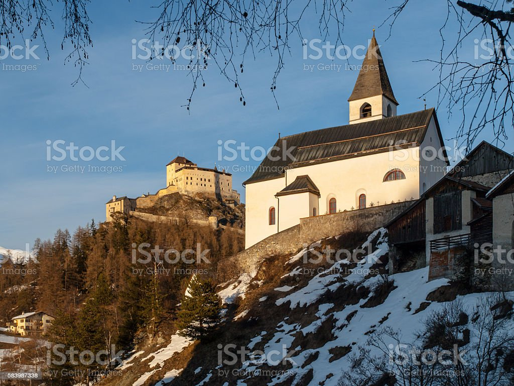 Tarasp church and castle in Swiss Alps stock photo