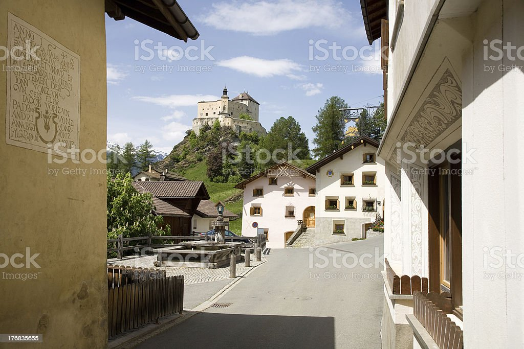 Tarasp village stock photo