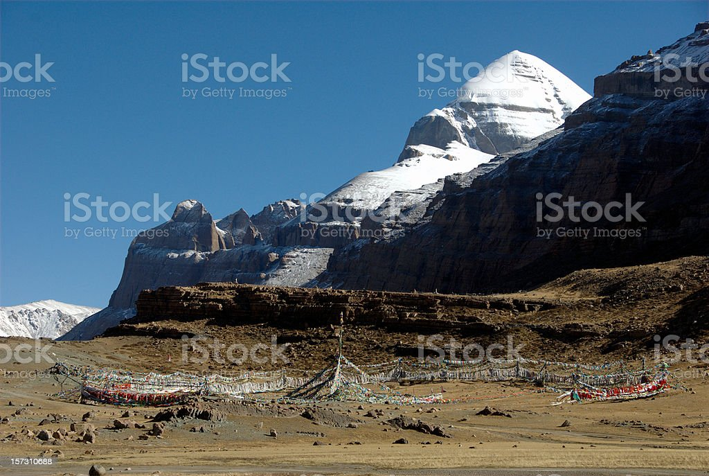 Tarboche of Mount Kailash (Gang Rinpoche, Tibet) royalty-free stock photo