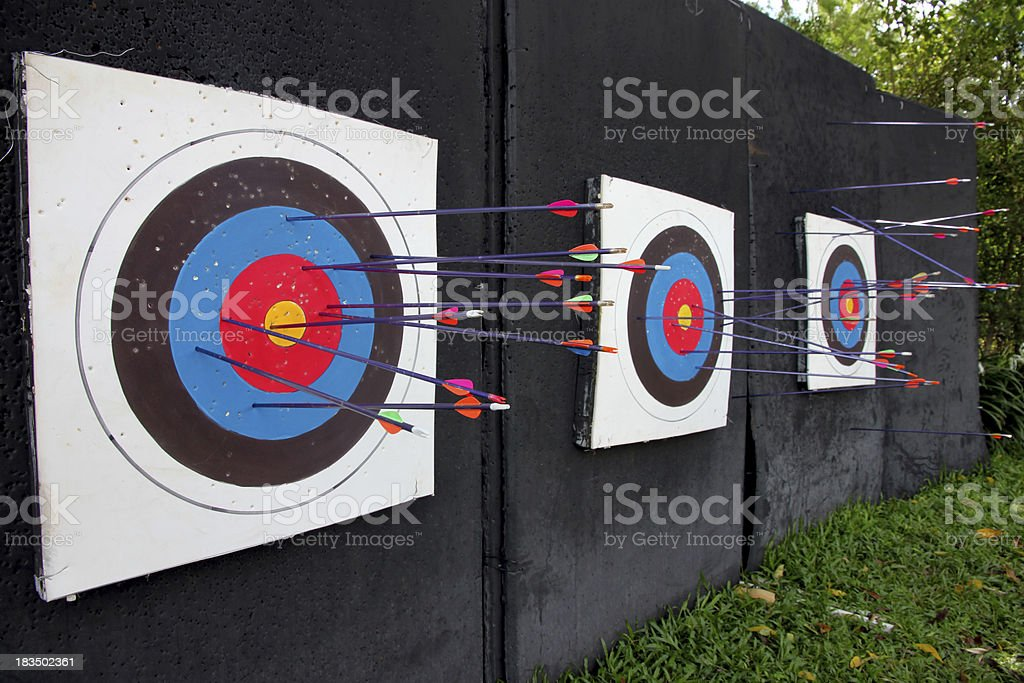 Target archery and Many arrow. stock photo