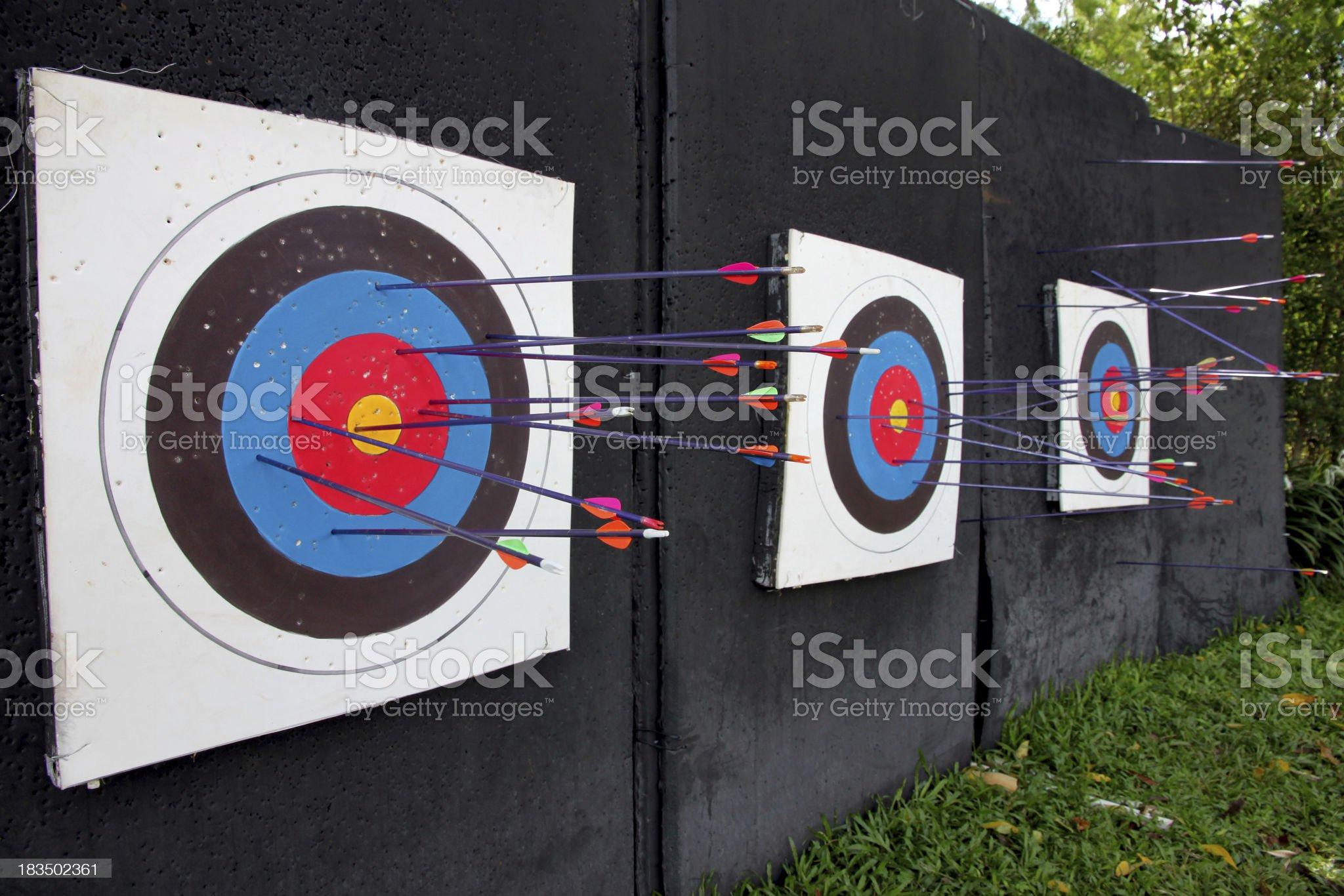 Target archery and Many arrow. royalty-free stock photo