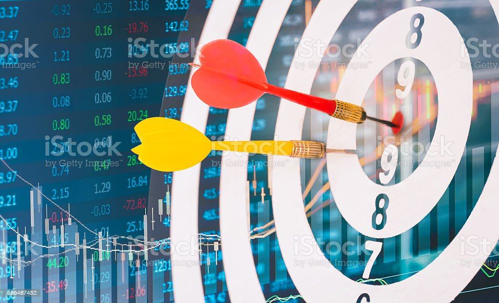target dart with target arrows dartboard is the target stock photo