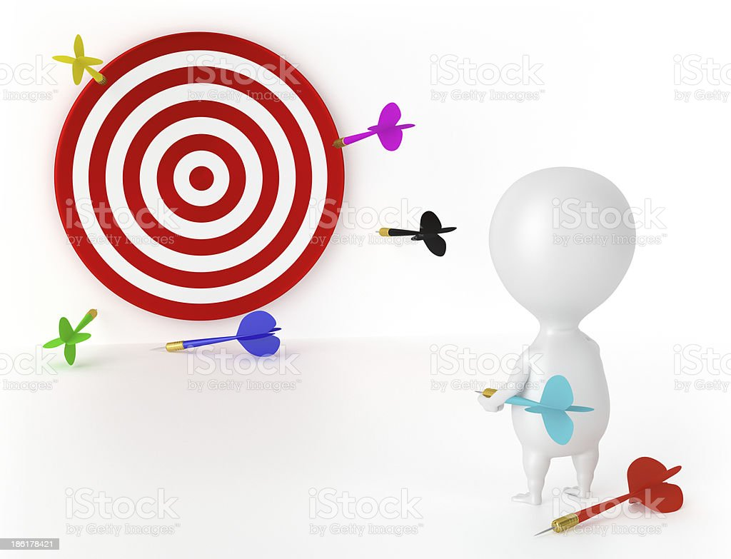 Target, Darts and Character - Loser royalty-free stock photo