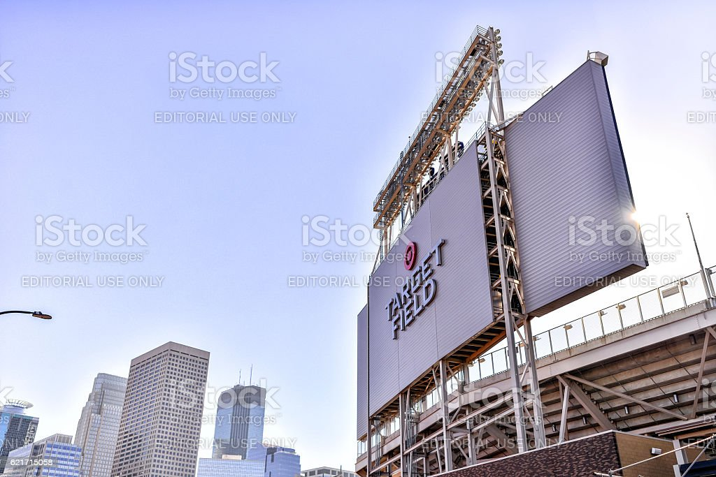 Target Field Scoreboard in Minneapolis, Minnesota. stock photo